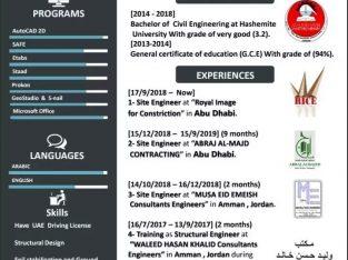 يطلب عمل مهندس في إمارة الشارقة الإمارات